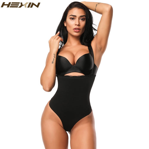 HEXIN Women Shapewear High Waist Tummy Control Body Shaper Adjustable Straps Underwear Thong Lingerie Slimming Bodysuit