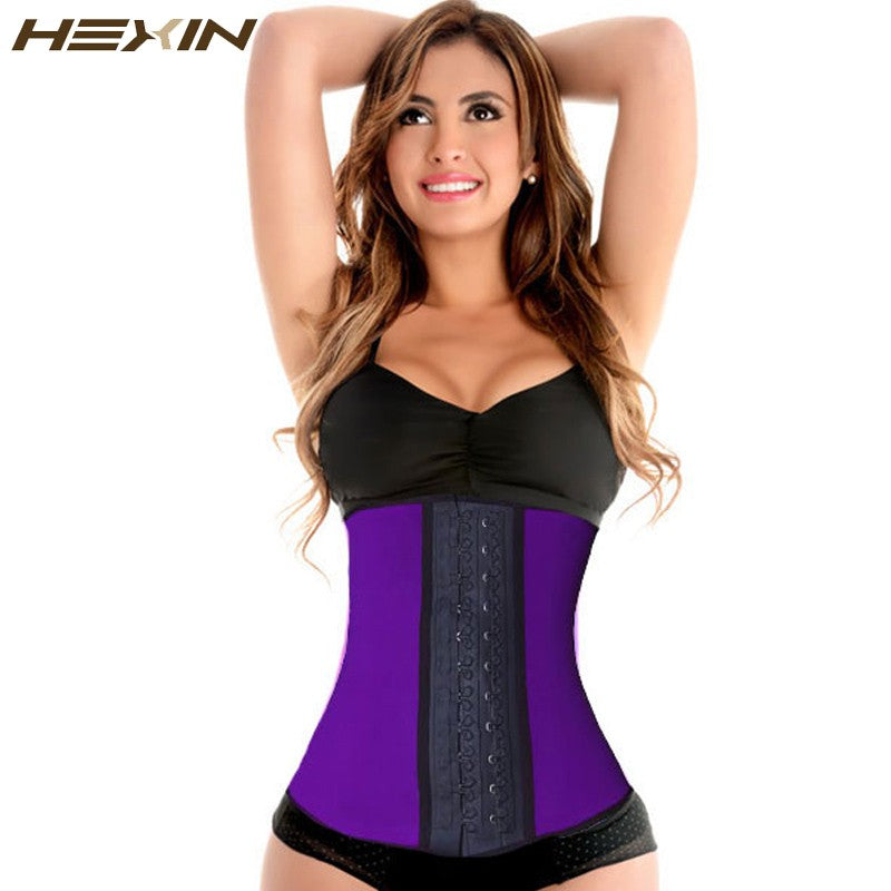 c36f8c5e4f HEXIN 9 Steel Bones 100% Latex Waist Trainer Corset Sexy Women Body Shaper  Waist Cincher ...