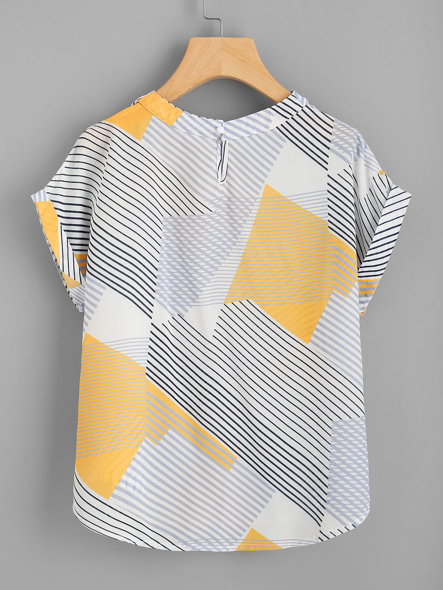 Abstract Striped Curved Hem Cuffed Blouse