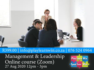 Management & Leadership Online Zoom Course | 27 Aug 2020 | R399
