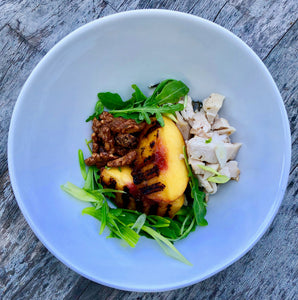 Grilled Peach Salad with Jerk Chicken