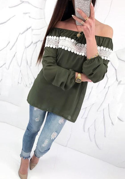 Army Green Patchwork Cut Out Off Shoulder Backless Sweet Blouse
