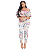 Folwer Print Ruffles Crop Top with Skinny Pants Two Pieces Set