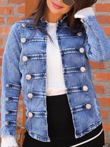 New Blue Buttons Double Breasted Long Sleeve Casual Denim Jacket