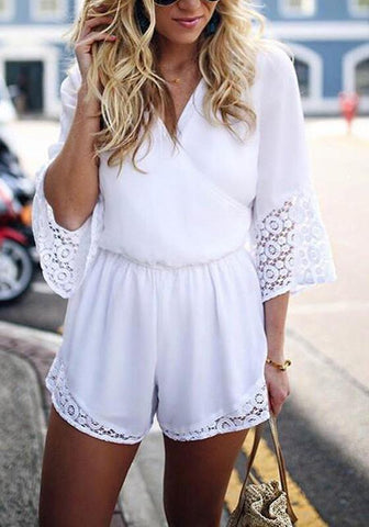 White Patchwork Hollow-out Lace Sewing Mid-rise Short Jumpsuit