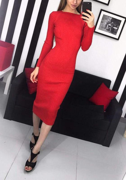 Red Plain Boat Neck Going out Midi Dress