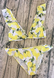 Yellow Floral Ruffle 2-in-1 V-neck Fashion Bikini Swimming Suit
