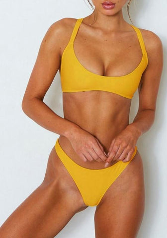Yellow Tie Back Crop 2-in-1 Fashion Swimwear