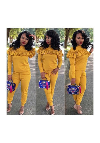 Yellow Ruffle Two Piece Round Neck Bodycon Romper Long Sleeve Long Jumpsuit