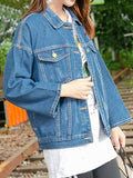 Onlinechoic Blue Single Breasted Pockets Turndown Collar Long Sleeve Jeans Coat