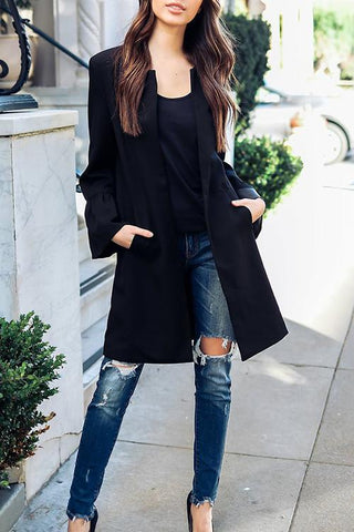 Onlinechoic Solid Color Long Sleeve Round Neck Long Coat