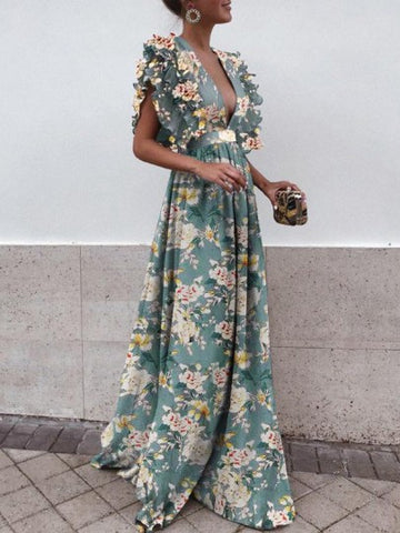 Green Floral Draped Backless Ruffle Plunging Neckline Sleeveless Elegant Maxi Dress