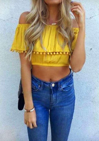 Yellow Patchwork Crop Tassel Off Shoulder Clubwear Blouse