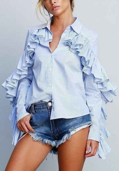 Blue-White Striped Ruffle Single Breasted Long Sleeve Turndown Collar Fashion Blouse