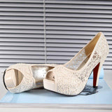 Sexy Lace Mesh Peep-Toe High-Heeled Sandals