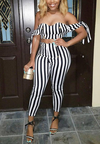White-Black Striped Backless Double Breasted Off Shoulder High Waisted Long Jumpsuit
