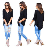 Black Plain Single Breasted Round Neck Long Sleeve Casual T-Shirt