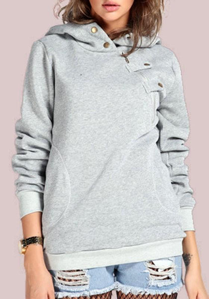 Grey Irregular Zipper Pockets Hooded Long Sleeve Pullover Sweatshirt