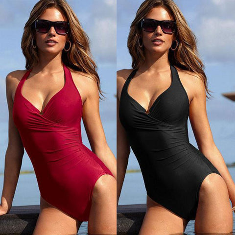 Pure Color Halter Padded Push Up One Piece Swimwear