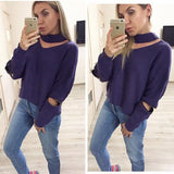 Dark Blue Cut Out Zipper Semicircular Casual Pullover Sweater