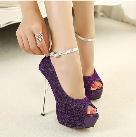 Shinning Peep Toe Ankle Wrap Platform Stiletto Super High Heels Sandals