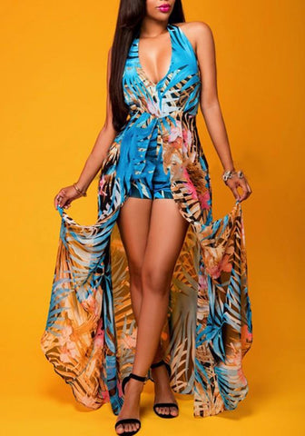 06831c4cca0a Blue Floral Print Halter Neck V-neck Plunging Neckline Backless Swallowtail  Maxi Chiffon Romper with