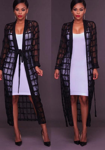 Black Plaid Draped Sashes Long Sleeve Casual Outerwear