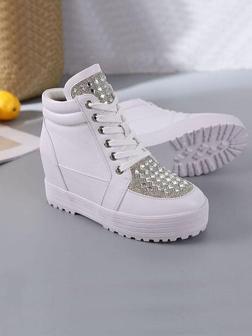 White Round Toe Flat Rhinestone Cross Strap Fashion Shoes