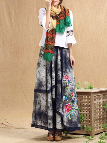 Embroidered Ink Ethnic Style Irregular Peony Flower Waist Skirt