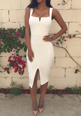 White Plain Slit Square Neck Cotton Blend Midi Dress