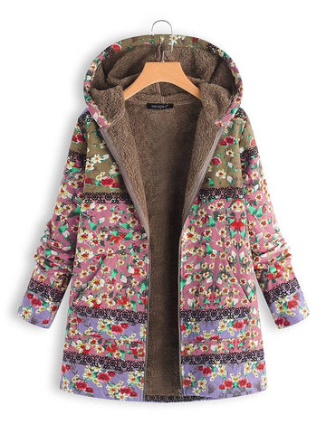 Onlinechoic Patchwork Random Floral Print Hooded Long Sleeve Vintage Coats