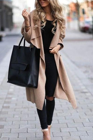 New Onlinechoic Fashion Casual Lapel Collar Plain Loose Long Sleeve Cardigan Jacket