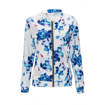 Euramerican Long Sleeves Floral Printed Blue Jacket