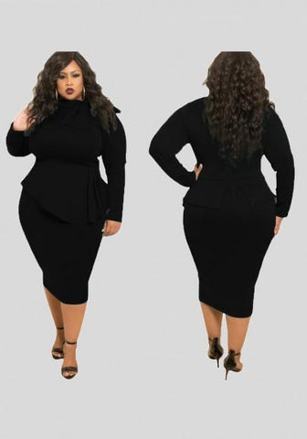 Black Ruffle Bowknot Bodycon Peplum Plus Size Party Midi Dress