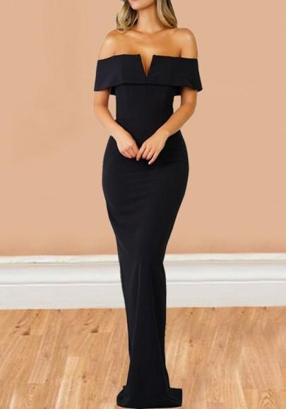 d1ebf1252128 Black Off Shoulder Boat Neck Short Sleeve Elegant Cocktail Party Maxi Dress