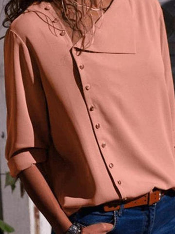 Casual Solid Color Irregular Diagonal Collar Button Long Sleeve T-Shirt