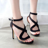 Transparent Open Toe Ankle Wraps Stiletto High Heels Sandals