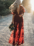 Pretty Sexy Lace Solid Color Short Sleeve Deep V Neck Side Split Maxi Dress
