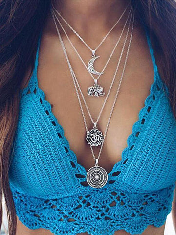 2PCS Moon&Eleghant Alloy Necklaces Accessories