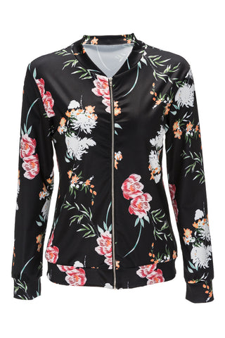 Euramerican Long Sleeves Floral Printed Black Jacket