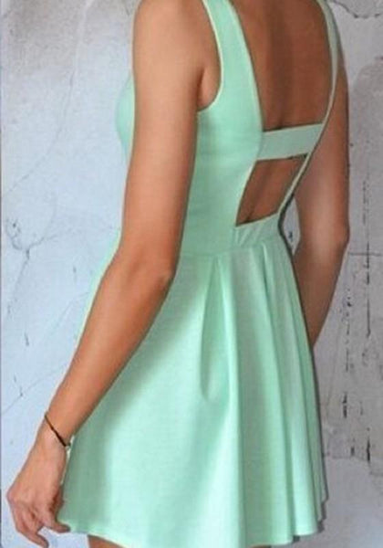 Green Plain Backless Square Neck Mini Dress