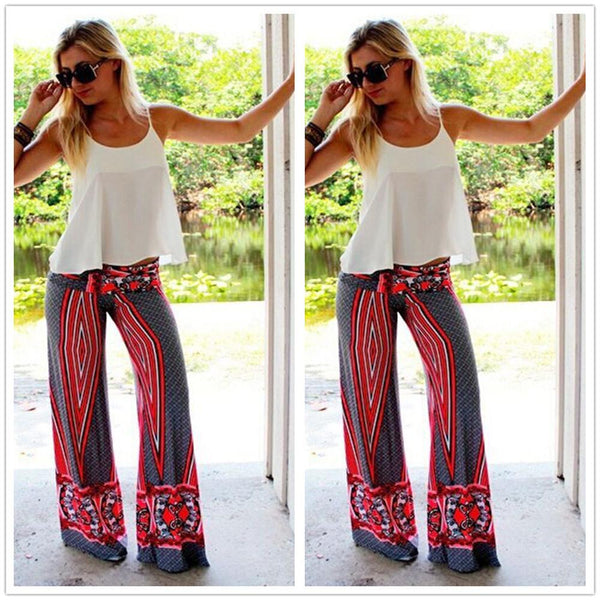 National Flower Print Straight Casual Empire Long Pants