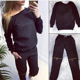 Scoop Blouse Zipper Long Pants Casual Activewear Set