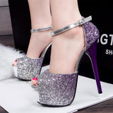Gradient Crystal Shinning Ankle Wrap Super High Stiletto Heels Party Sandals