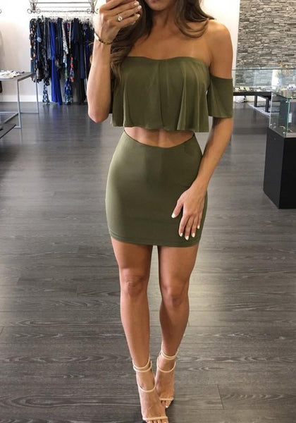 Army Green Plain 2-in-1 Ruffle Bandeau Mini Dress