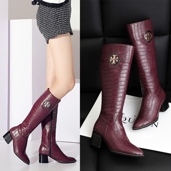 British Pointed Toe Low Chunky Heels Long Boots