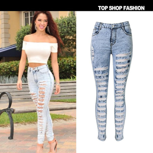 Cut Out Rough Holes High Waist Long Skinny Denim Pants