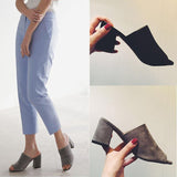 Suede Chunky Heel Peep-toe Slipper Sandals