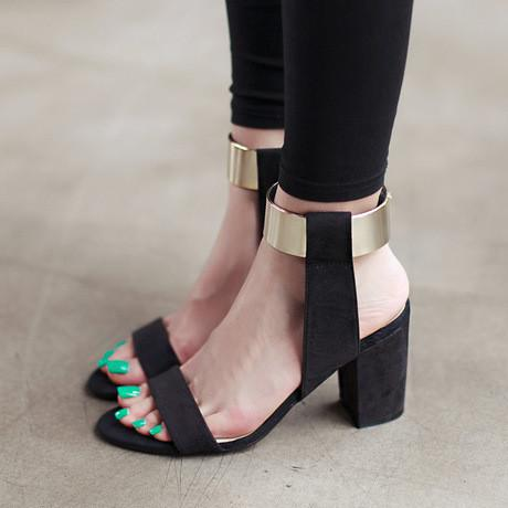 Metallic Ankle Strap Velcro High-Heeled Sandals