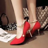 Beadings Pointed Toe Ankle Wrap Stiletto High Heels